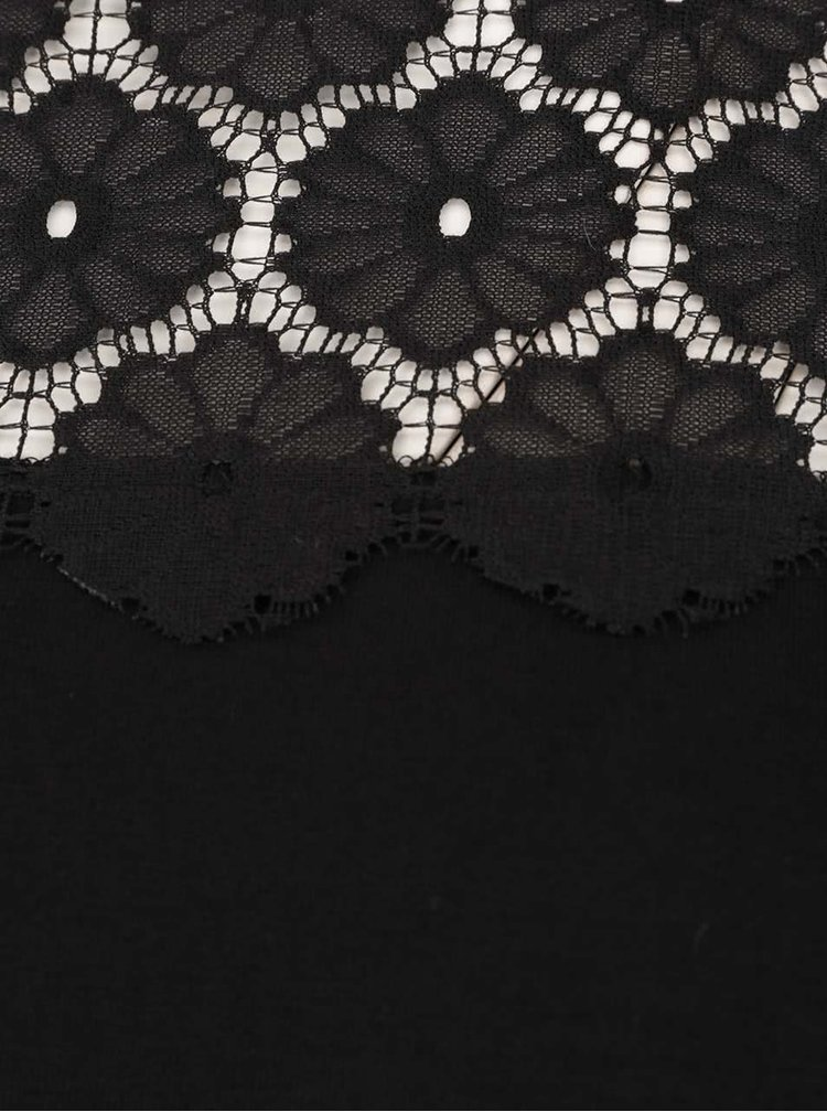 Černé tričko s dlouhým rukávem a krajkou Dorothy Perkins