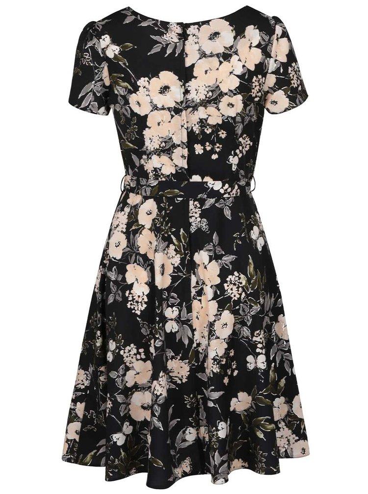 Černé šaty s motivem motýlů a květin Dorothy Perkins