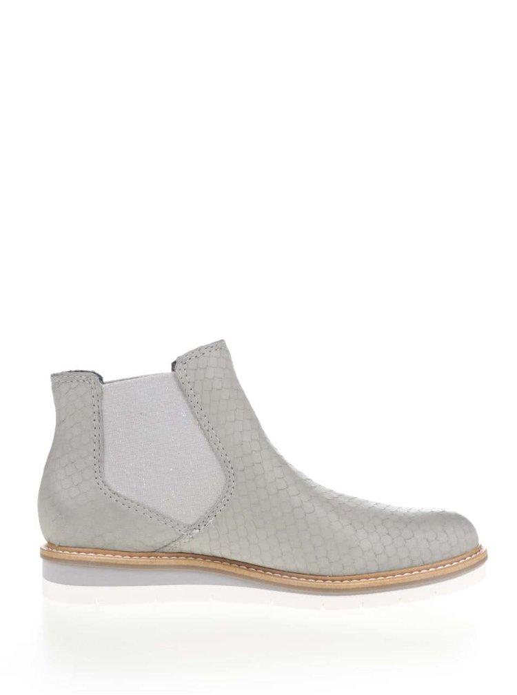 Světle šedé kožené vzorované chelsea boty Tamaris