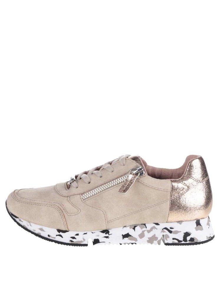 Pantofi sport bej Tamaris cu detalii metalice