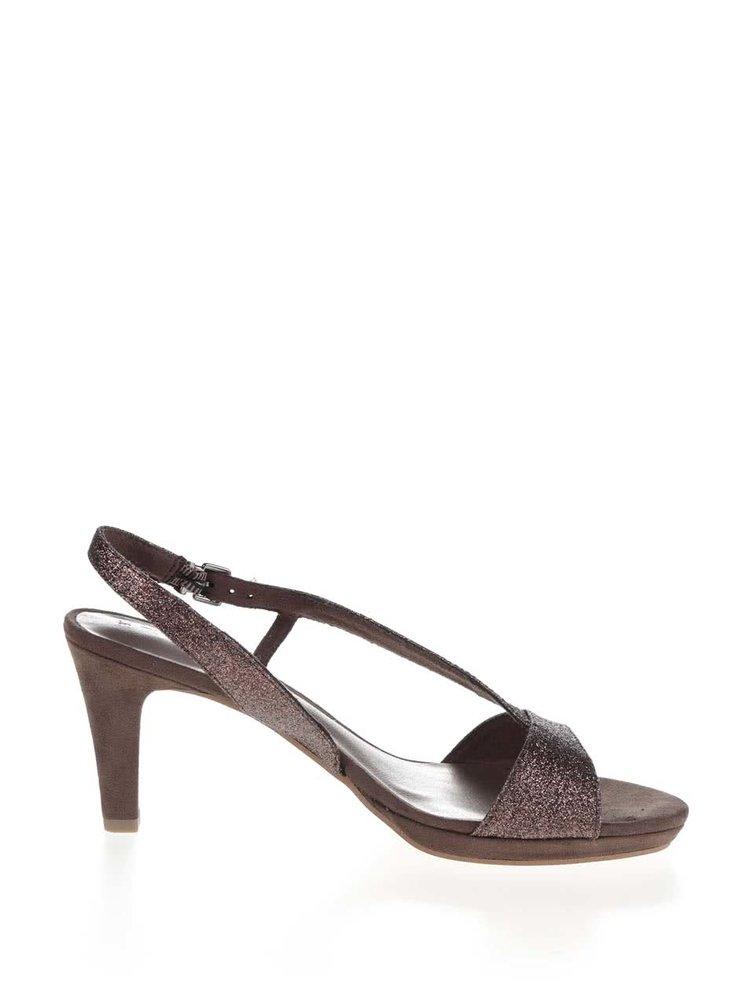 Sandale maro cu sclipici Tamaris