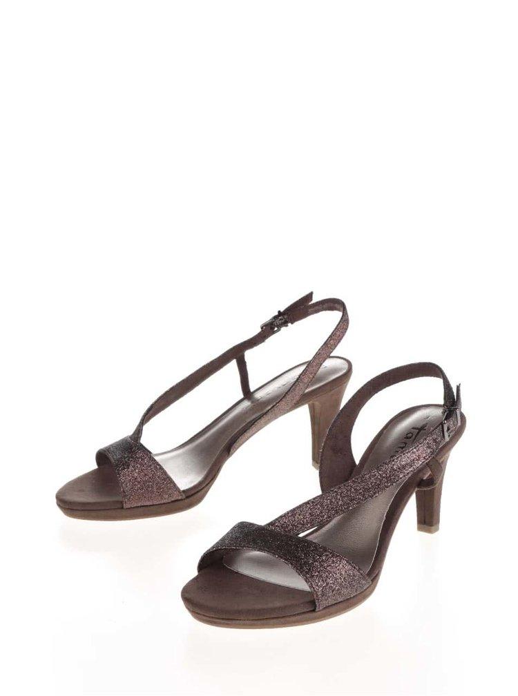 Tmavě hnědé třpytivé sandálky na podpatku v semišové úpravě Tamaris