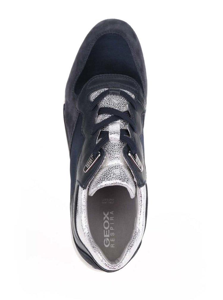 Pantofi sport negru & albastru Geox Shahira cu detalii din piele întoarsă