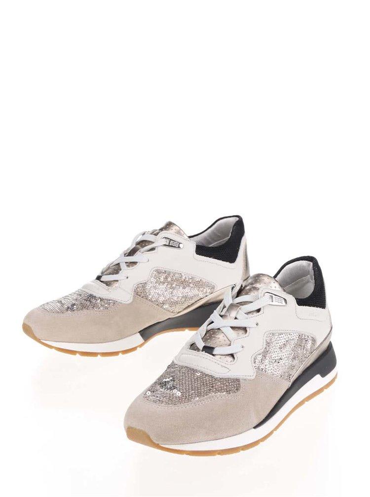 Krémovo-béžové dámské tenisky se semišovými detaily Geox Shahira