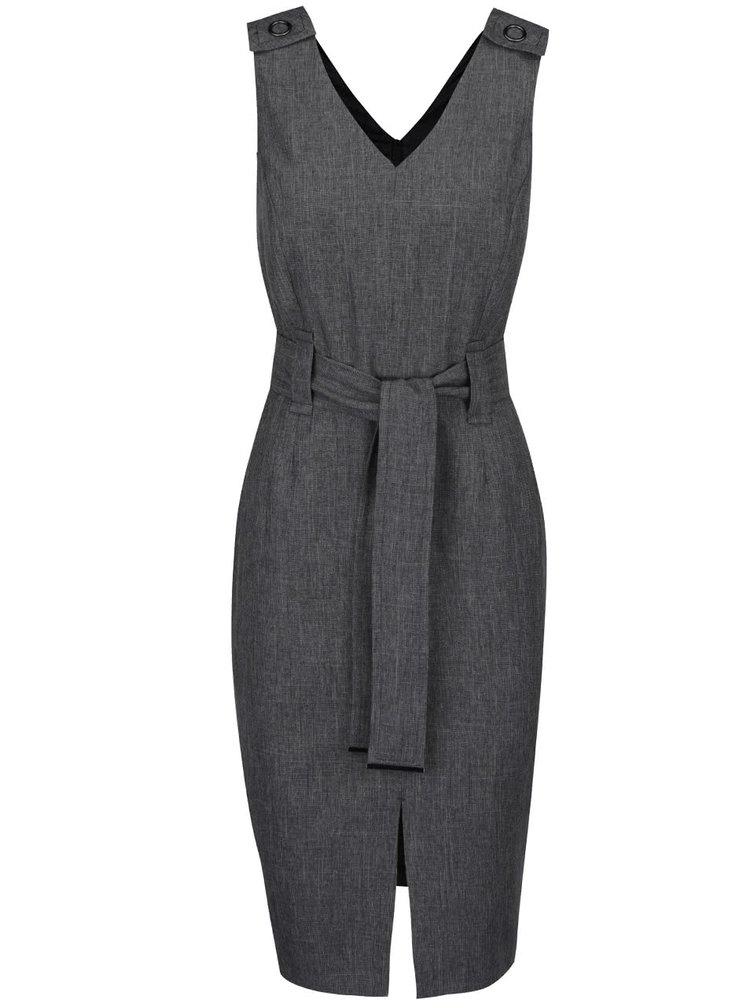 Tmavě šedé šaty s páskem Dorothy Perkins