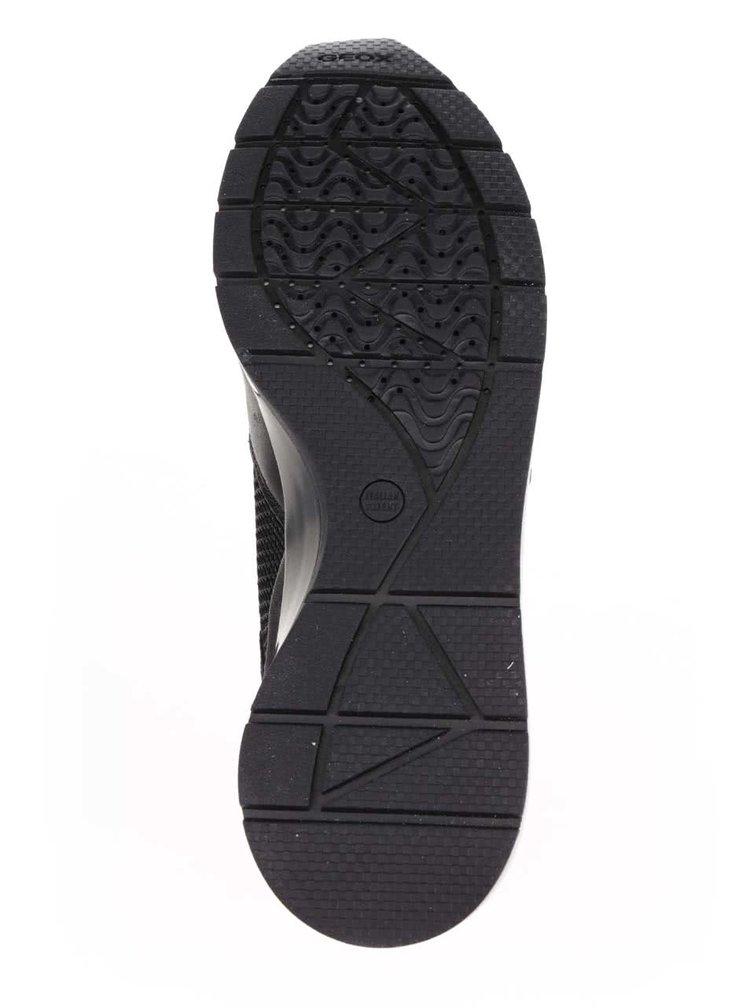 Bílo-černé dámské tenisky se semišovými detaily Geox Shahira