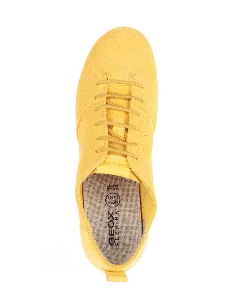 Pantofi sport galbeni Geox New Do din piele intoarsa