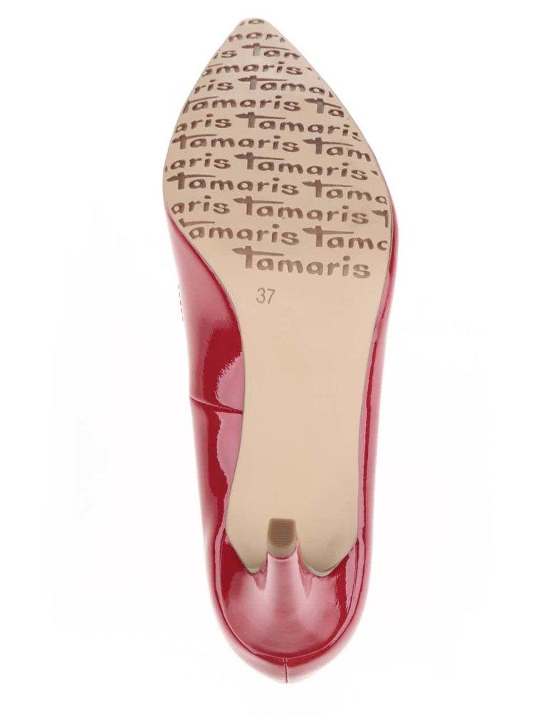 Pantofi roșii cu toc Tamaris cu aspect lăcuit
