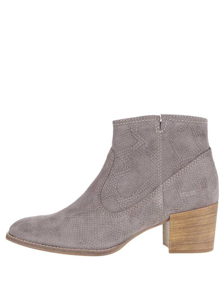 Šedé semišové vzorované kotníkové boty na podpatku Tamaris