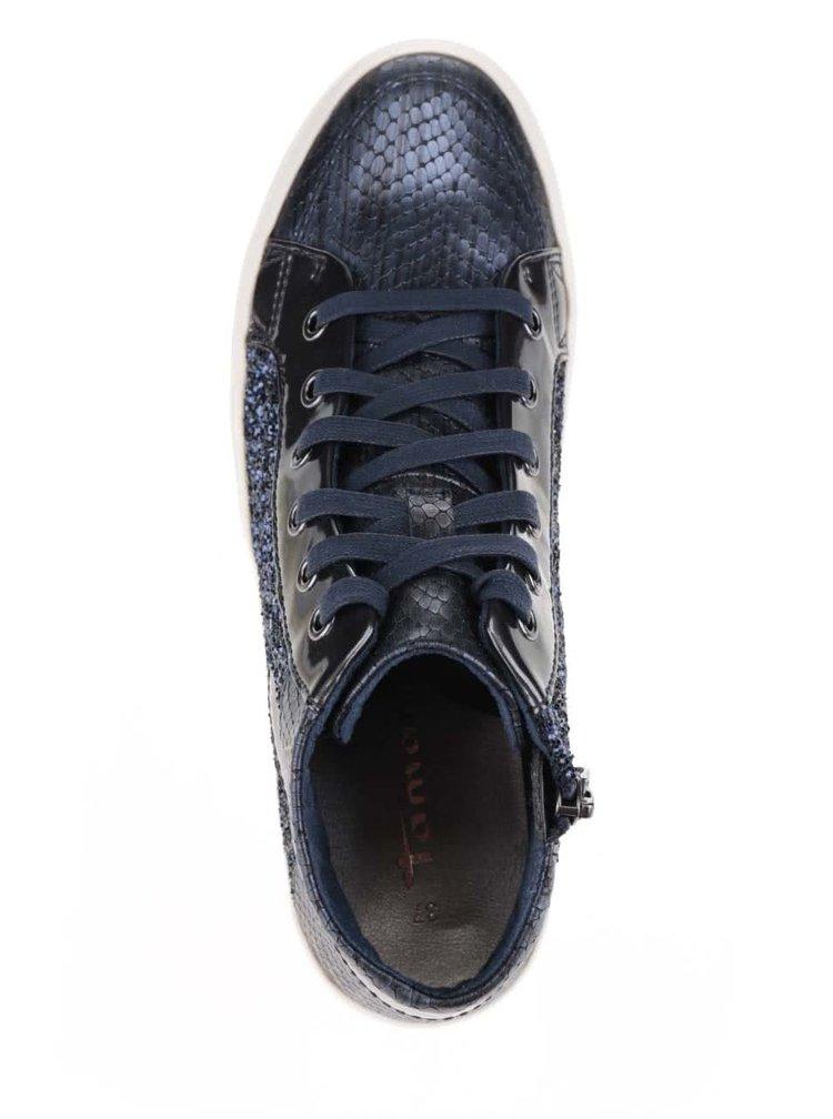 Tmavě modré kotníkové tenisky s lesklými a třpytivými detaily Tamaris
