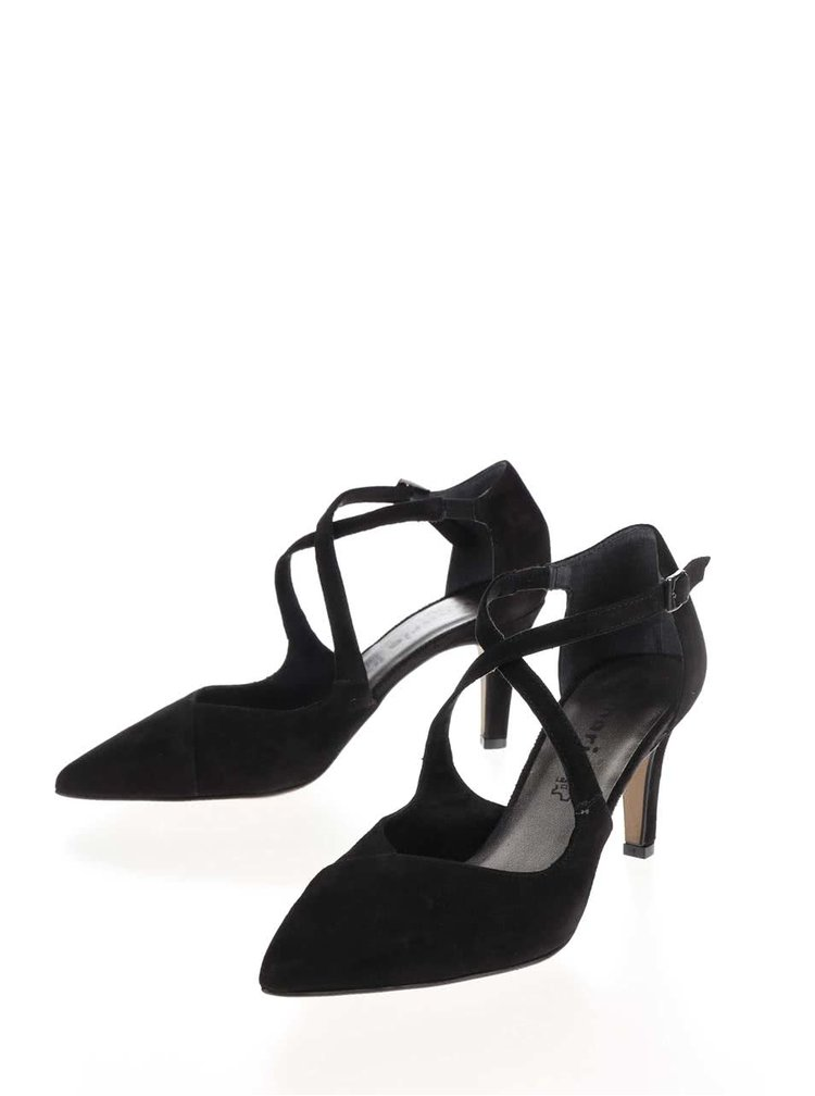 Pantofi negri Tamaris din piele intoarsa