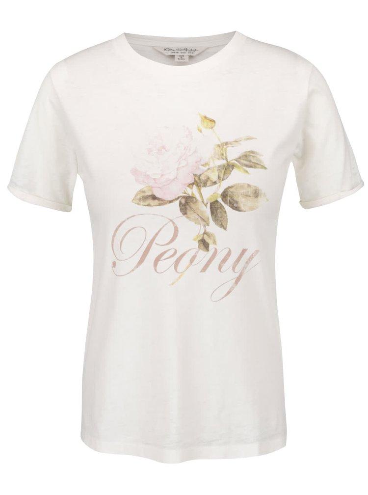 Tricou crem cu imprimeu floral Miss Selfridge