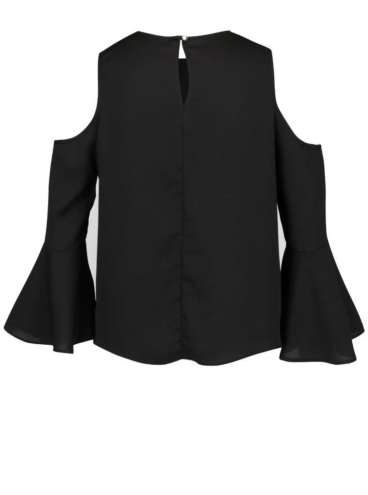 Černý volný top s průstřihy na ramenou a volánky Miss Selfridge