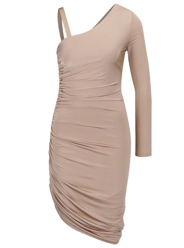 Pudrové šaty s řasením na boku a jedním rukávem Miss Selfridge