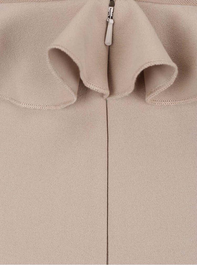 Béžové šaty s průhledným sedlem a volánky Miss Selfridge