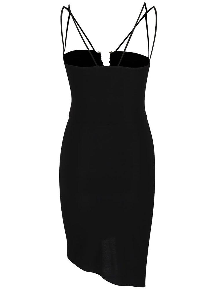 Rochie neagră Miss Selfridge cu bretele subțiri