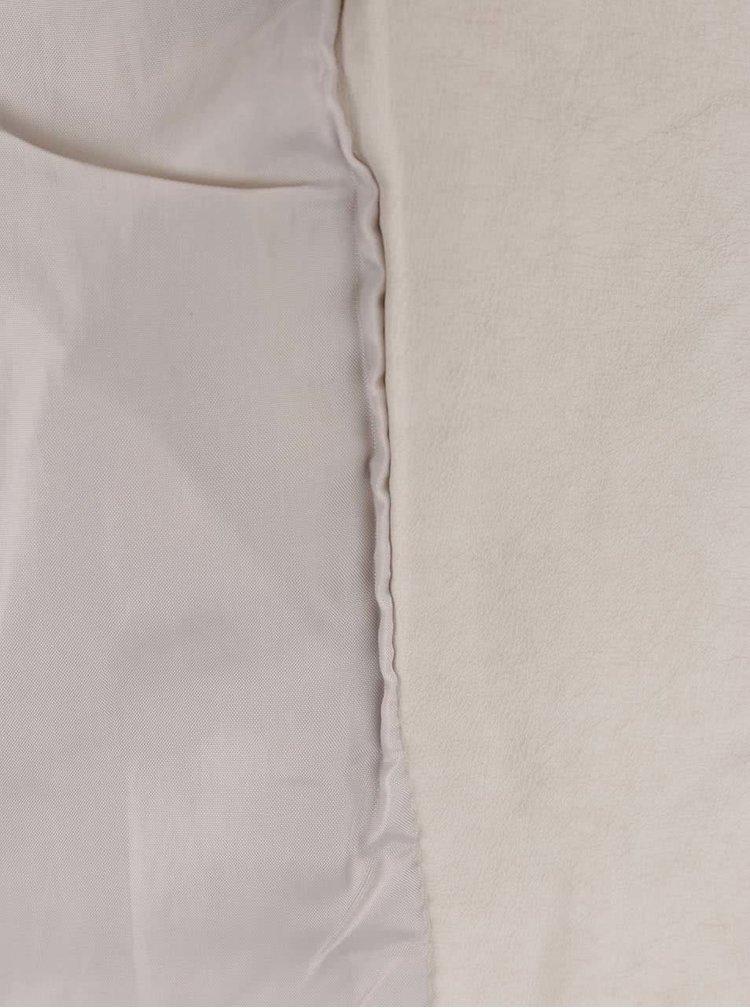 Krémový koženkový křivák Miss Selfridge
