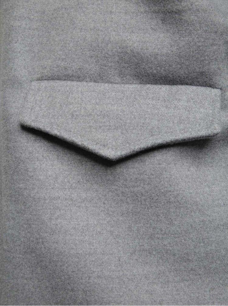 Šedý volný kabát s krátkými rukávy Alchymi Ava