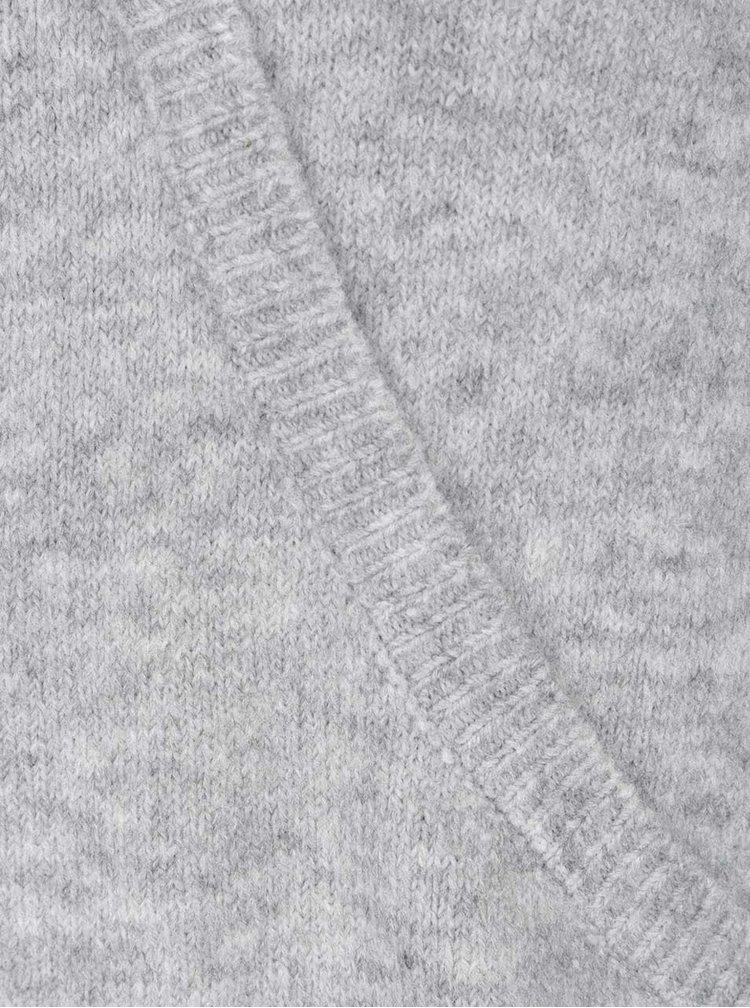 Šedý svetr s překládaným výstřihem Miss Selfridge