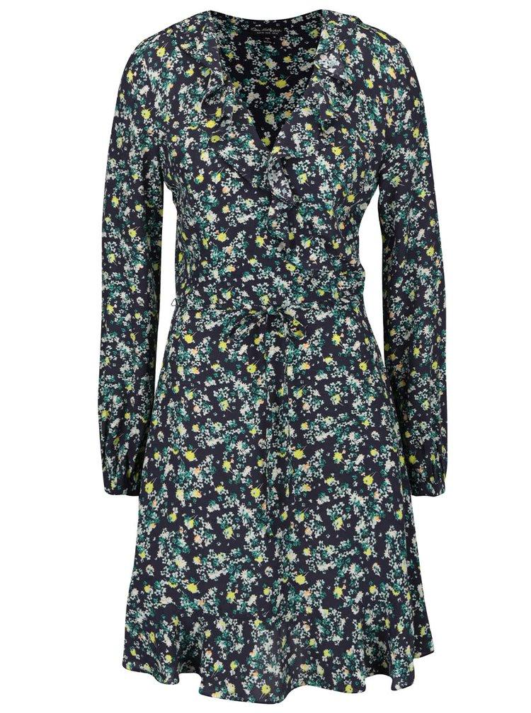 Zeleno-modré šaty s překládaným výstřihem a volány Miss Selfridge