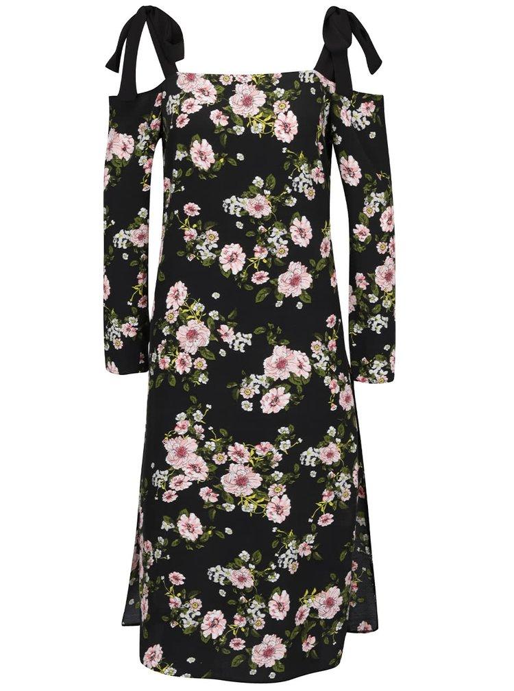 Černé květované šaty s odhalenými rameny Miss Selfridge