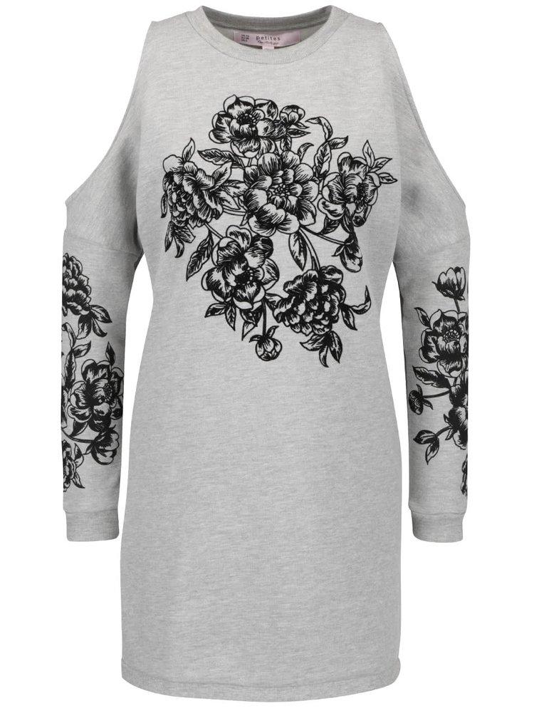 Šedé mikinové šaty s průstřihy na ramenou Miss Selfridge Petites