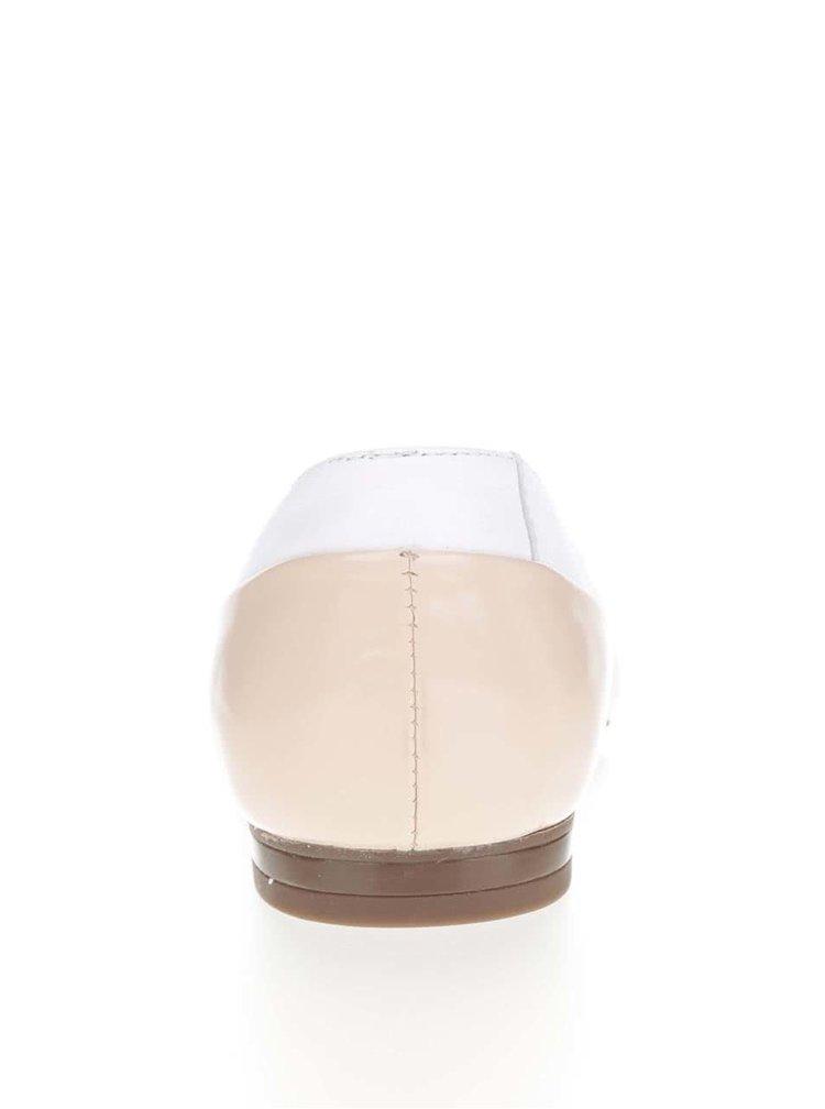 Bílo-krémové kožené baleríny do špičky Geox Rhosyn