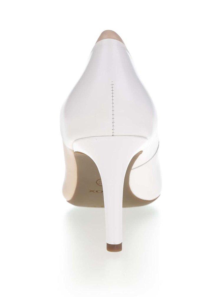 Bílo-krémové kožené lodičky Geox Audie
