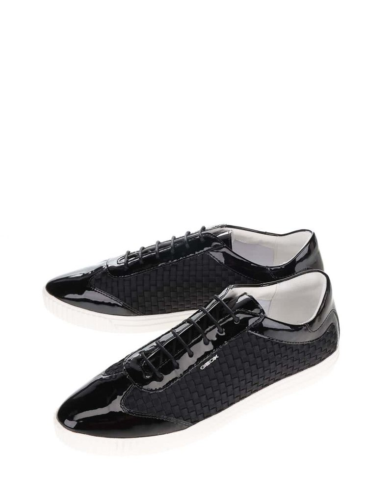 Pantofi sport negri Geox Amalthia cu aspect lucios
