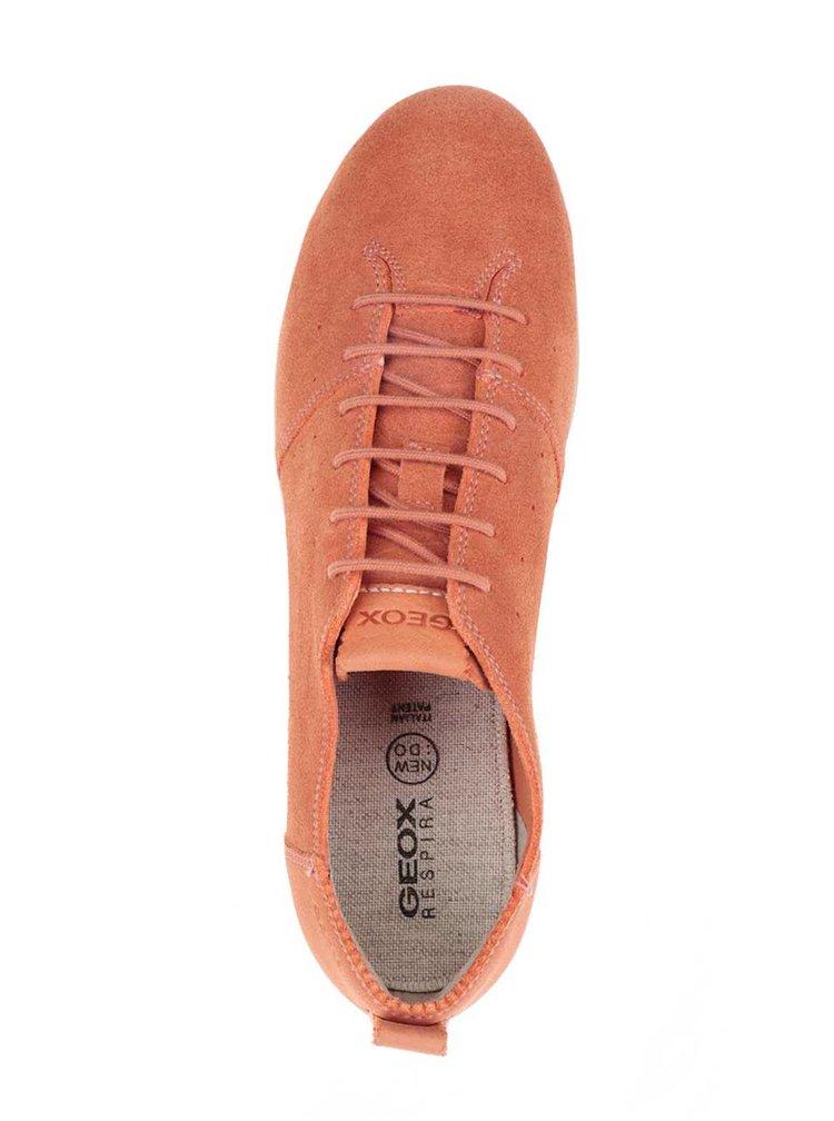 Oranžové dámské nízké semišové tenisky Geox New Do C