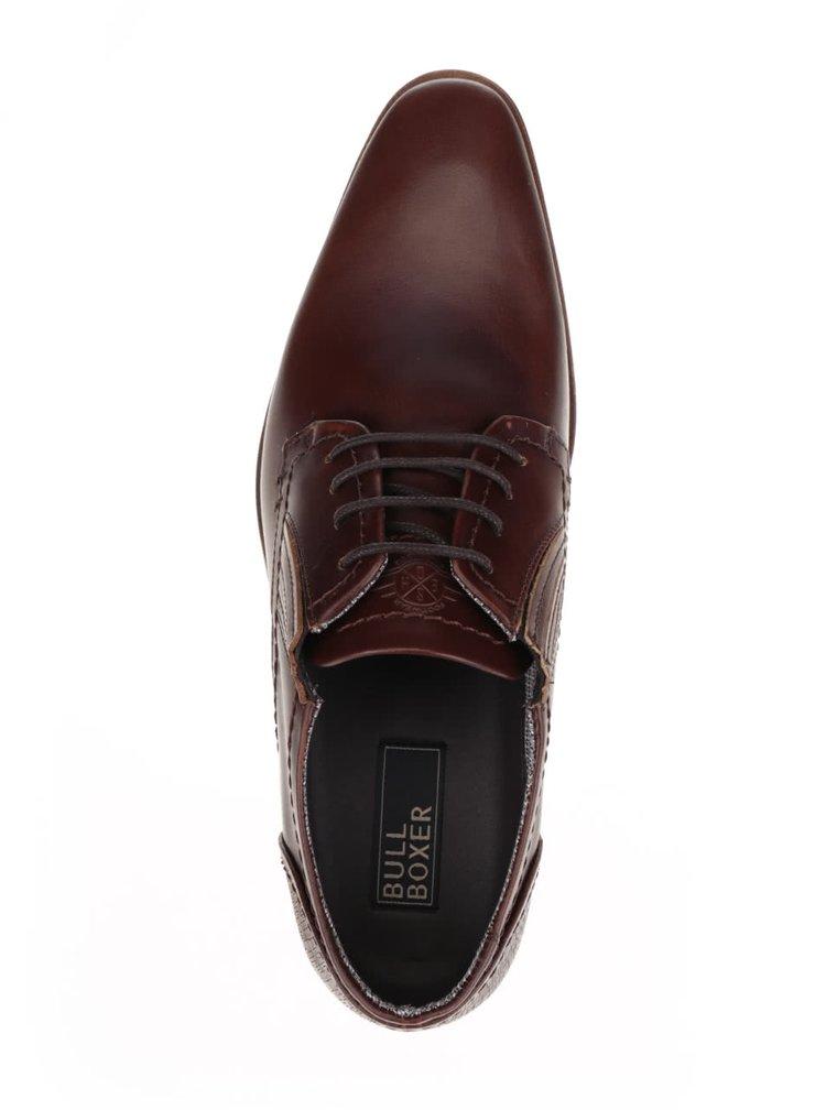 Pantofi maro închis Bullboxer din piele cu detaliu texturat
