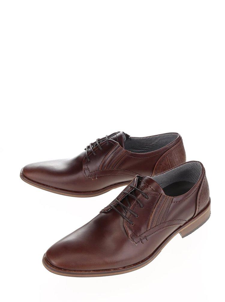 Pantofi maro inchis Bullboxer din piele cu detaliu texturat