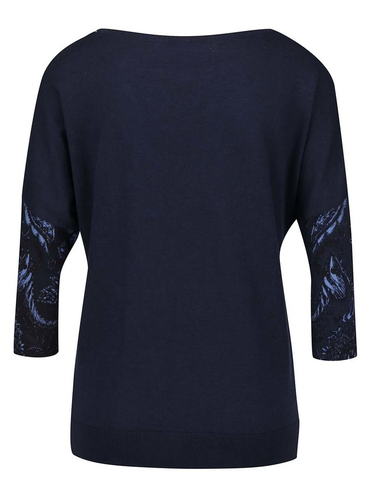 Tmavě modrý vzorovaný svetr s kamínky a netopýřími rukávy Desigual Varlkiria Full