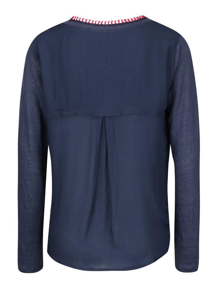 Tmavě modré lněné tričko s dlouhým rukávem Desigual Enblu