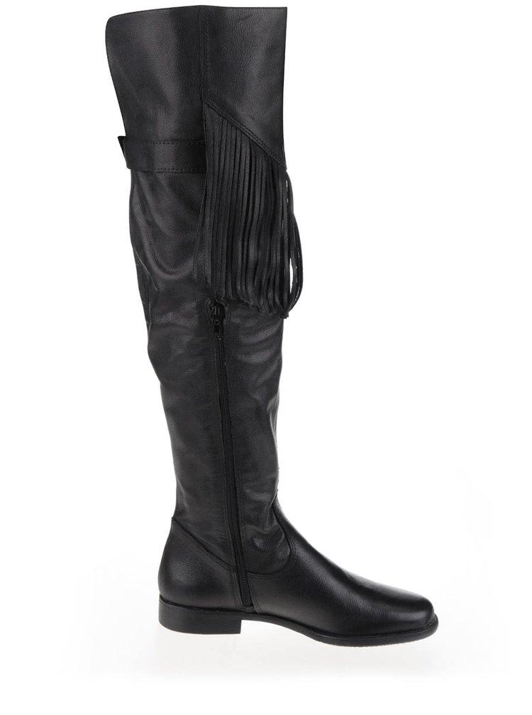 Cizme negre Tamaris din piele cu franjuri