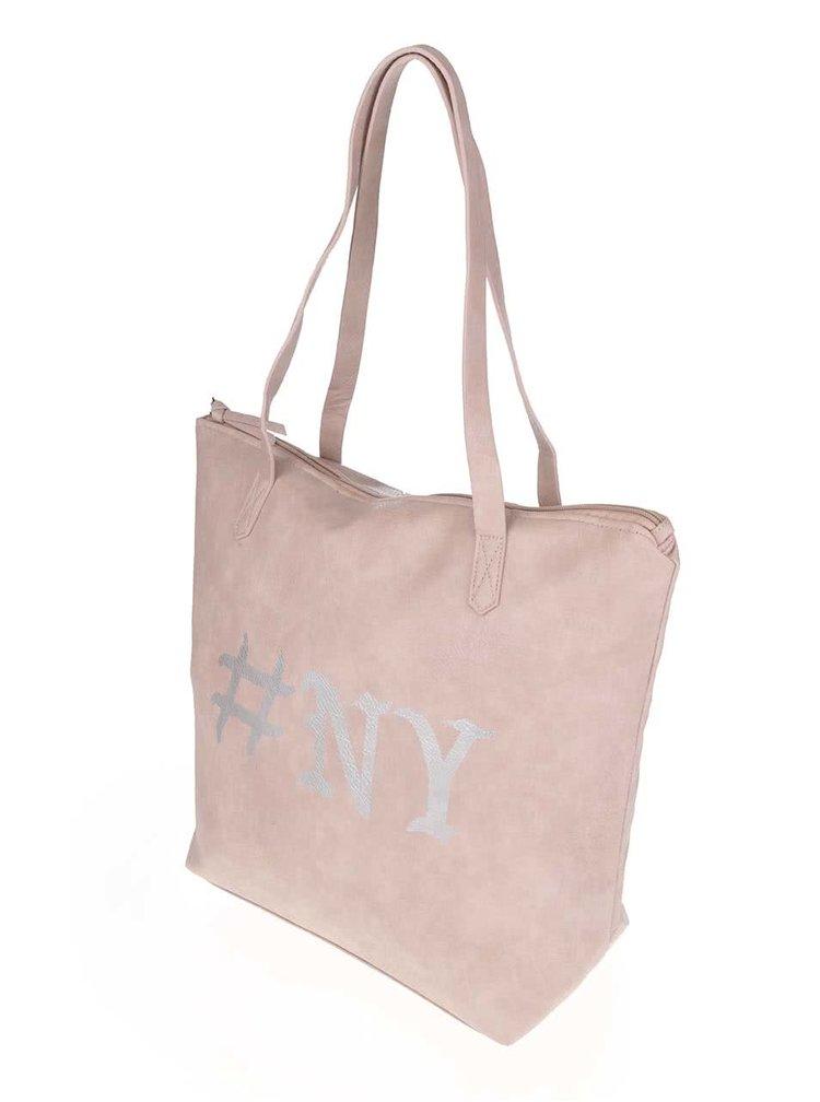 Růžový shopper s potiskem ve stříbrné barvě TALLY WEiJL