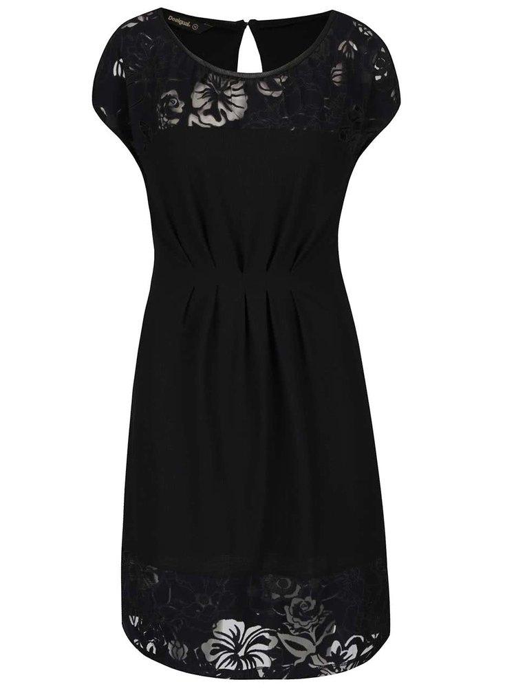 Černé šaty s krajkou Desigual Moon