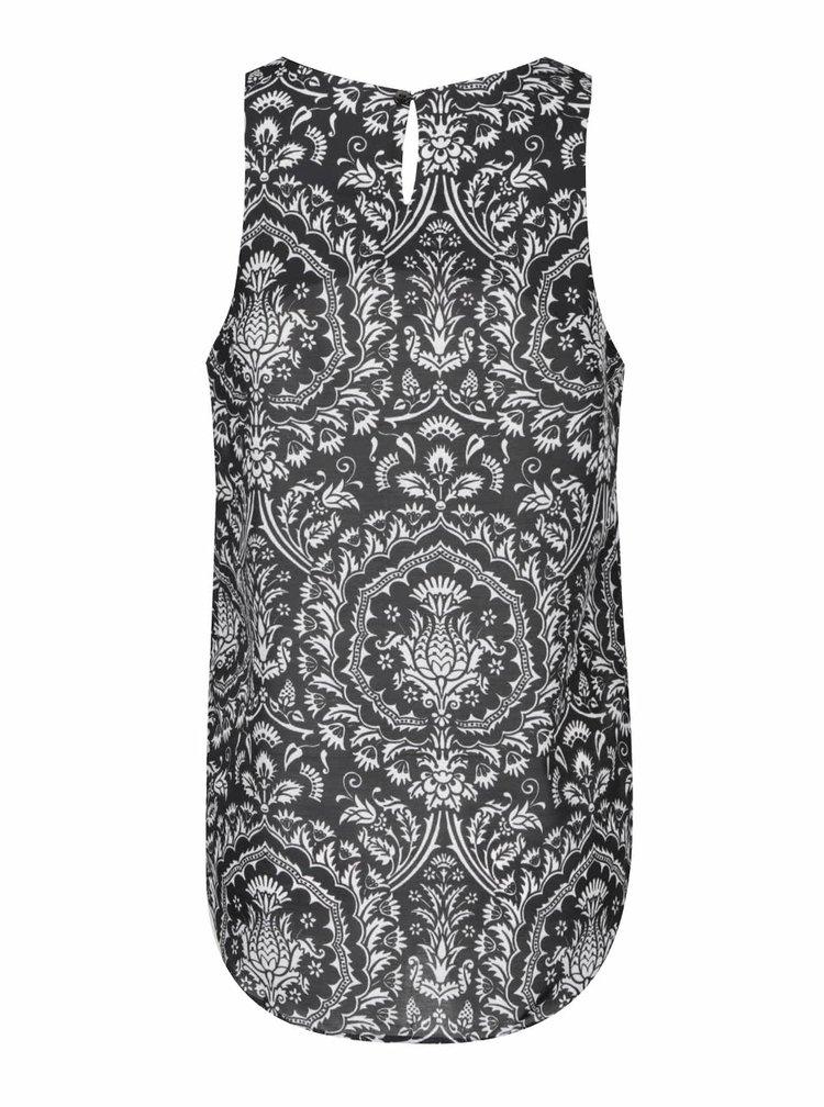 Bílo-černá vzorovaná halenka bez rukávů Desigual Nuria
