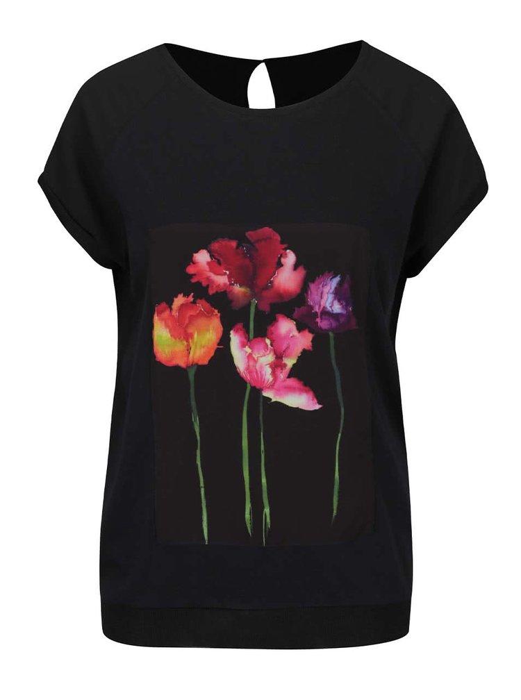 Černá volná halenka s květovaným motivem Desigual Mares