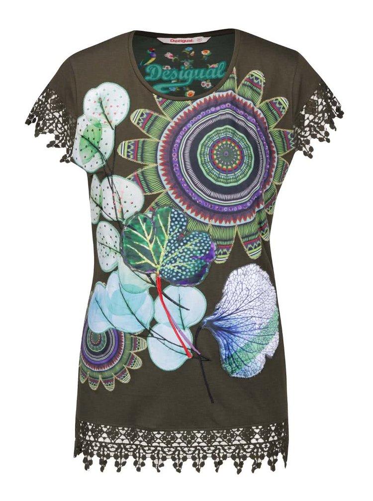 Tmavě zelené tričko s krajkovými detaily a květovaným motivem Desigual Caty