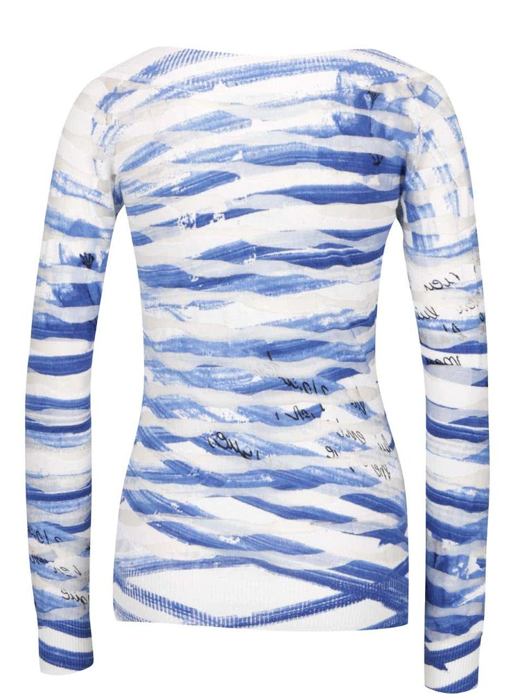 Bílo-modrý průsvitný pruhovaný svetr s motivem růže Desigual Carlota