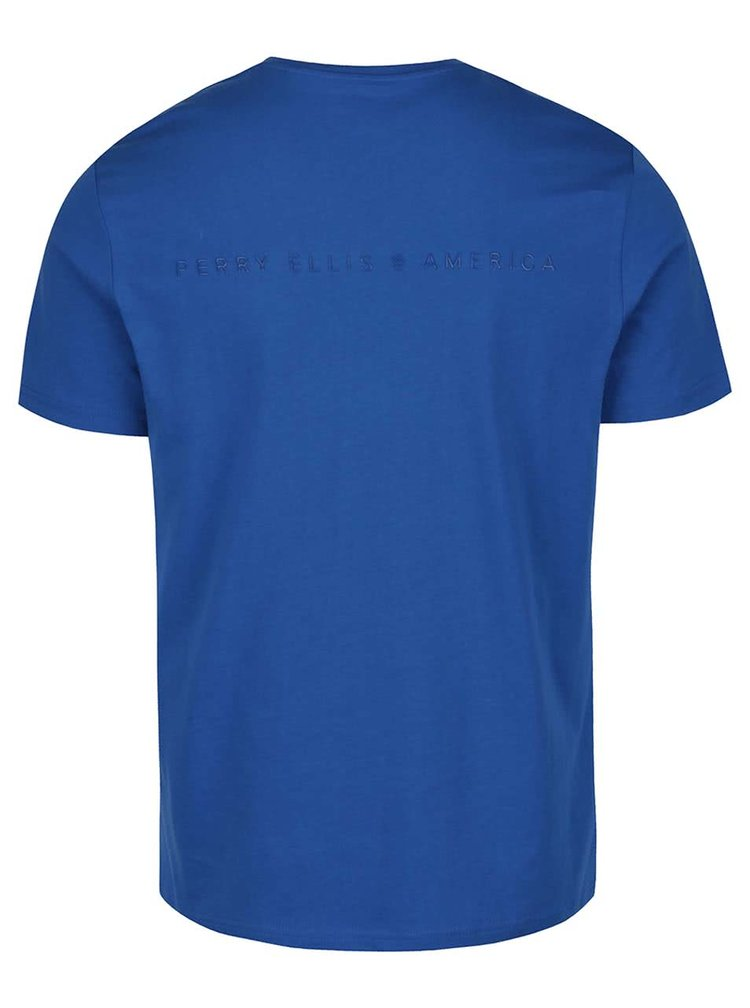 Tricou albastru Perry Ellis Tour cu logo printat