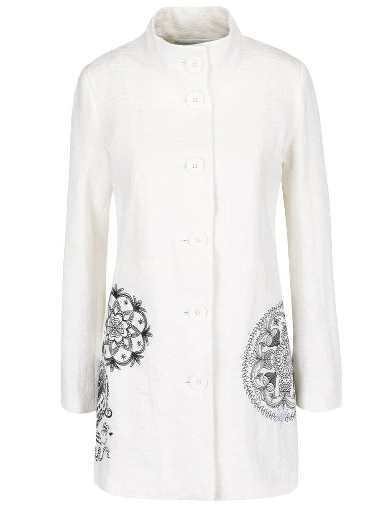 Krémový lehký kabát s výšivkami Desigual Eva