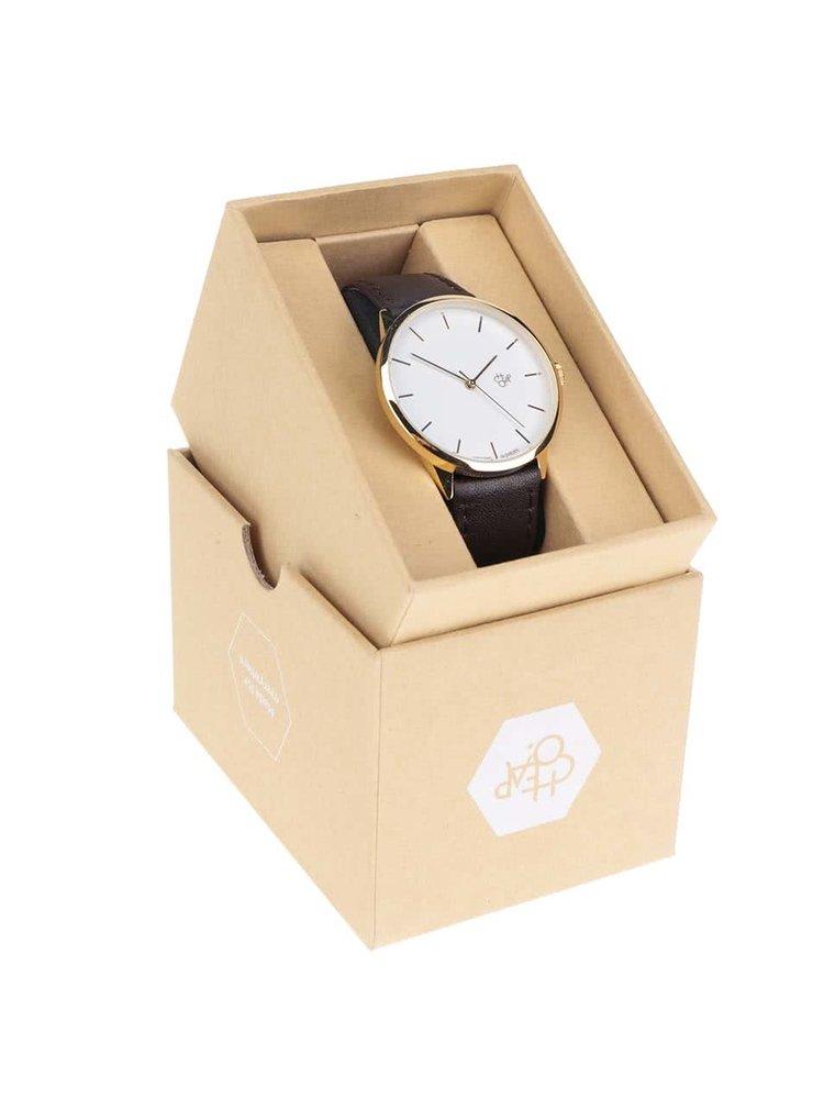 Unisex hodinky ve zlaté barvě s tmavě hnědým páskem z veganské kůže CHPO Khorshid Gold