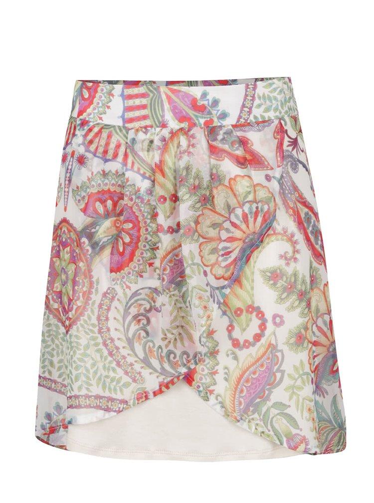 Krémová krátká překládaná sukně s barevnými vzory Desigual Erika