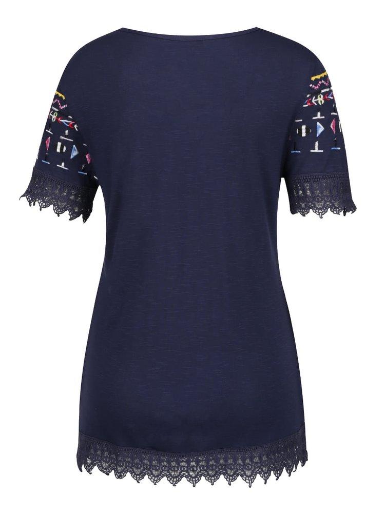 Tmavě modré tričko s barevnou výšivkou a krajkou Desigual Etetres