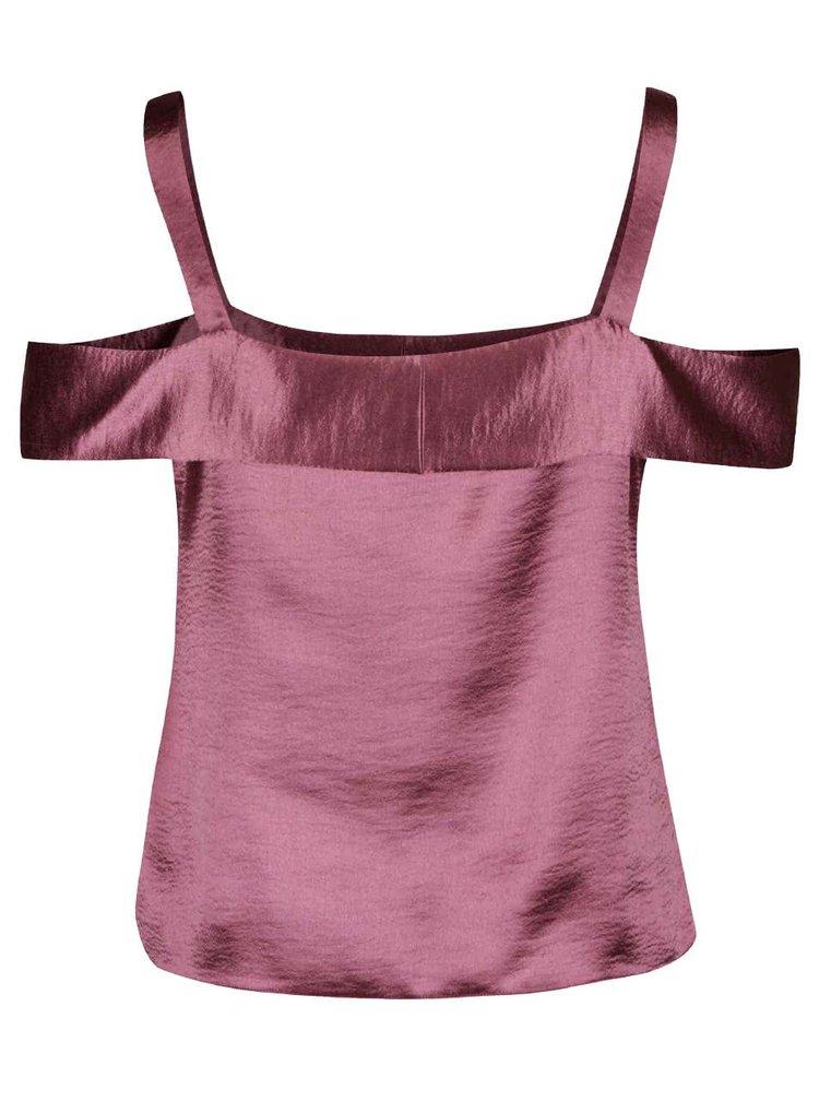 Růžový lesklý top s odhalenými rameny Dorothy Perkins