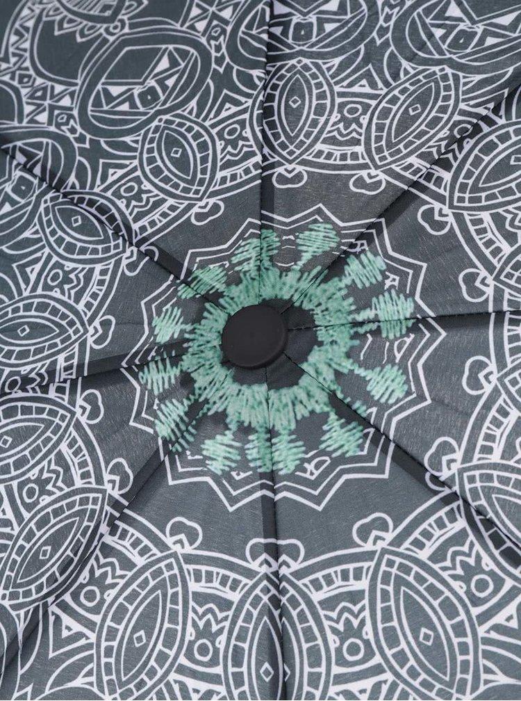 Umbrela neagra Desigual Wow cu model