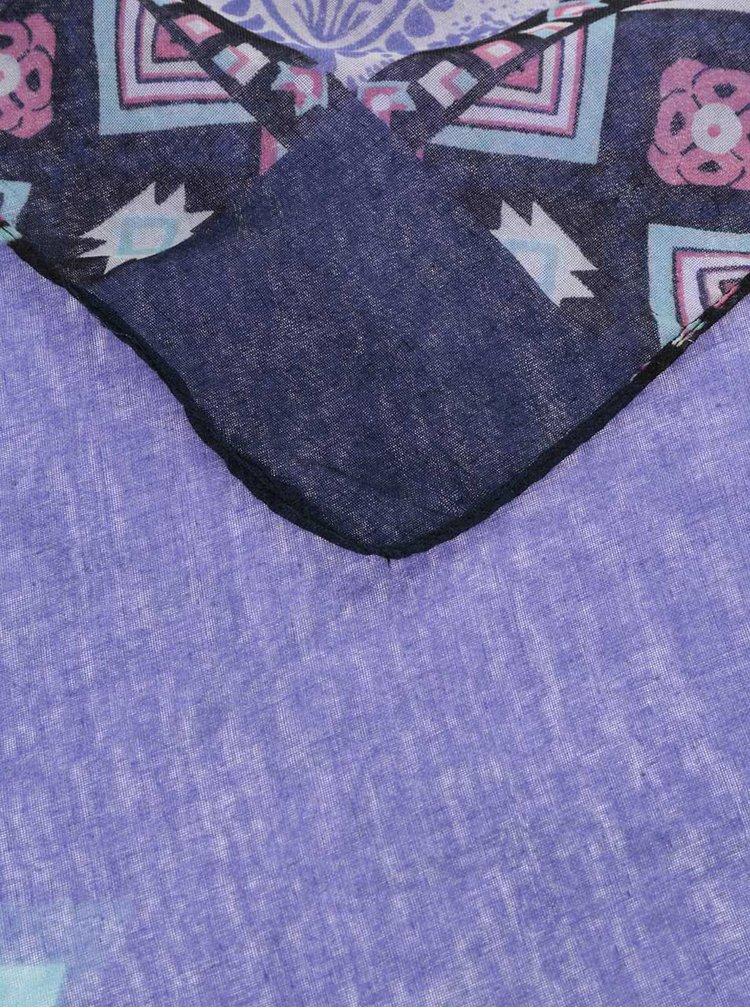 Fialový šátek se vzorem Desigual New Emma