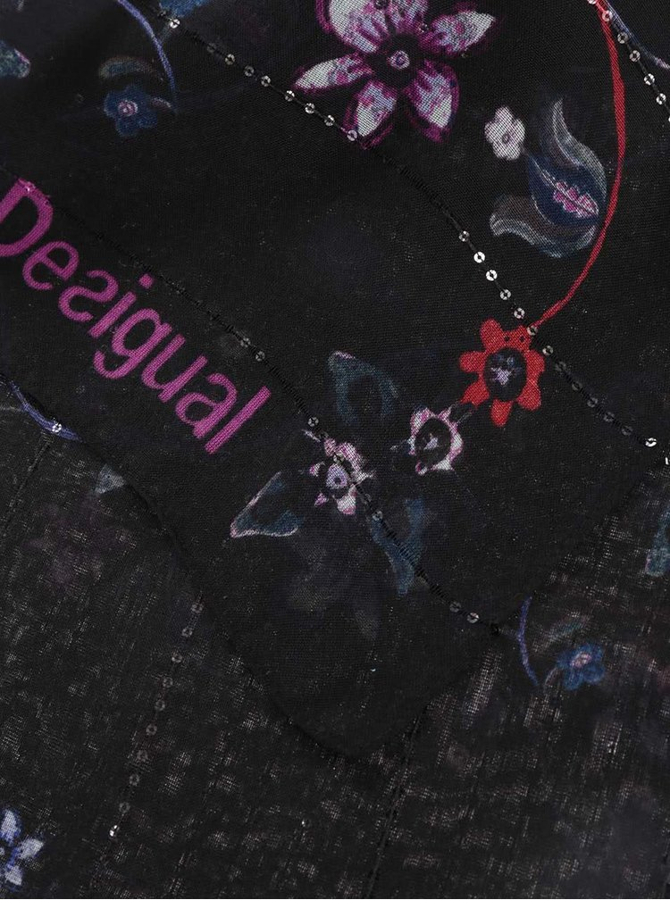 Esarfa neagra Desigual Vakiria Rectangle cu model
